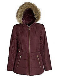cheap -women's down alternative puffer coat with plush lined fur trim hood (pinot / 3x)