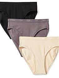cheap -amazon brand - women's sublte logo elastic modal bikini, 3 pack,black/charcoal grey/toasted almond,small