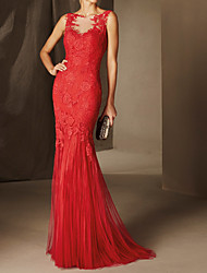 cheap -Mermaid / Trumpet Beautiful Back Sexy Engagement Formal Evening Dress Illusion Neck Sleeveless Sweep / Brush Train Lace with Appliques 2021