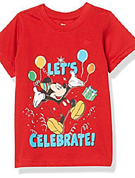 cheap -mickey mouse boy's let's celebrate birthday party outfit tee, 100% cotton, red, size 4t