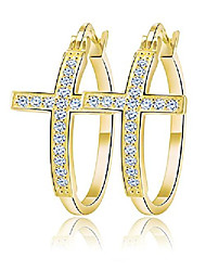 cheap -religious cross hoop earrings for women cubic zirconia gold plated by