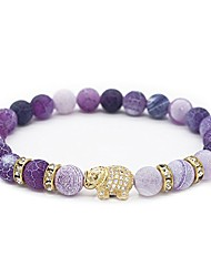 "cheap -8mm natural weathering stone cz gold elephant bracelet yoga balancing reiki healing jewelry, 7.5"" purple"