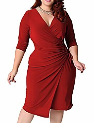 cheap -women plus size dresses casual summer women's vintage 3/4 sleeve v-neck cocktail wedding swing wrap dress (red, l)