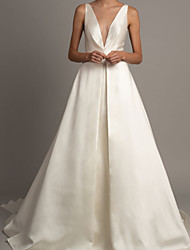 cheap -Ball Gown Wedding Dresses V Neck Court Train Satin Sleeveless Formal with 2021