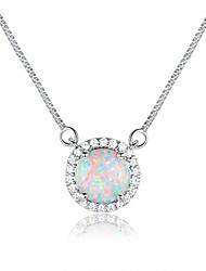 cheap -white gold plated opal halo pendant necklace and stud earrings jewelry set (necklack)