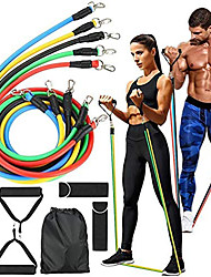 cheap -Resistance Band Set Suspension Trainer Basic Kit 11 pcs 5 Stackable Exercise Bands Door Anchor Legs Ankle Straps Sports TPE Home Workout Gym Workout Exercise & Fitness Adjustable Non Toxic Stretchy