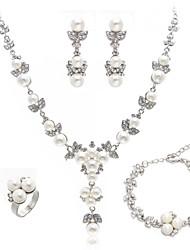 cheap -Women's Drop Earrings Bead Bracelet Necklace Imitation Pearl Earrings Jewelry Silver For Wedding / Ring