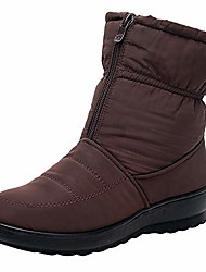 cheap -clogs and mules shoes, women winter mid calf snow boot fur warm waterproof anti slip outdoor bootie for rain cold weather, winter autumn thick leather out about boots wom brown 7.5
