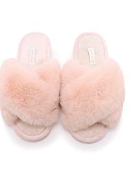 cheap -Unisex Slippers & Flip-Flops Fuzzy Slippers Indoor Slippers Flat Heel Open Toe Sweet Daily Walking Shoes Rabbit Fur Solid Colored Pink Beige Gray
