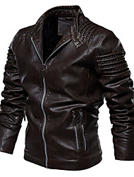 cheap -men's stand collar faux leather jacket pu vintage motorcycle winter jackets