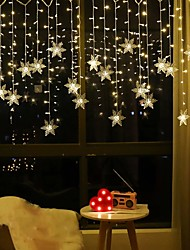 cheap -3.5M 96LEDs Snowflake Curtain String Lights LED Christmas Curtain Light Living Room Bedroom Christmas New Year Wedding Valentine's Day Decoration