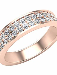 cheap -men's i i1 diamond wedding band 0.75 ctw two-row half way men's 14k rose gold 5mm (ring size 8)