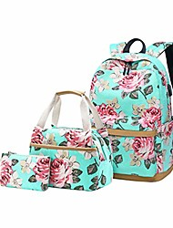 "cheap -women floral backpack teen girls canvas school backpack with usb charging port fits 15.6"" college book bag laptop backpack with lunch box (green)"