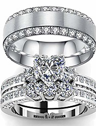 cheap -his and hers couple ring bridal set his hers women white gold filled heart cz man titanium wedding ring band
