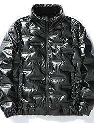 cheap -Men's Padded Parka Solid Colored Cotton Black / Dark Gray M / L / XL