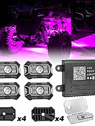 cheap -rgb rock light kits,  4 pods wheel well lights underglow multicolor led rock lights with music, timing mode bluetooth control neon light kits for rzr atv truck jeep utv