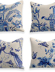 cheap -Cushion Cover 4PCS Soft Decorative Square Throw Pillow Cover Cushion Case Faux Linen Pillowcase for Sofa Bedroom  Superior Quality Mashine Washable Blue And White Porcelain Flowers