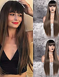 cheap -30 inch long straight medium brown wig with bangs black roots synthetic ombre medium brown wig for women natural looking wigs (30inch)