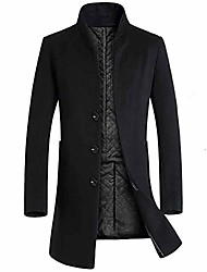 cheap -clearance!! men's fashion long sleeve warm coats winter trench long outerwear button smart overcoat jacket (black, x-large)
