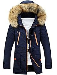 cheap -men lengthened fur hooded down coats heavy parka winter jackets blue l