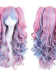 cheap -womens long curly fate lolita cosplay wigs costume wig halloween party wig (pink blue)