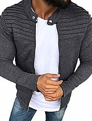 cheap -men's solid pleated slim fit stripe raglan zipper jacket outdoor wear grey