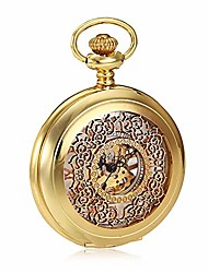 cheap -pocket watch, creative machinery mens pocket watch with gold cutout flip white dial roman word gentleman suit accessories (color : gold, size : 4.7x1.5cm)