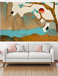 cheap -Wall Tapestry Art Deco Blanket Curtain Picnic Table Cloth Hanging Home Bedroom Living Room Dormitory Decoration Polyester Fiber Modern Red Sun Crane Mountains Pine Tree River