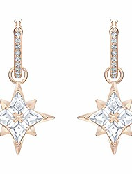cheap -swarovski symbolic protection star mini hoop pierced earrings cz white one size