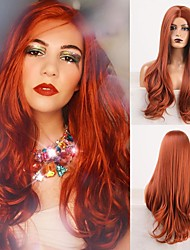 cheap -Cosplay Costume Wig Synthetic Wig Wavy Body Wave Middle Part Wig Long Auburn Synthetic Hair Women's Odor Free Fashionable Design Soft Orange / Heat Resistant