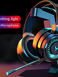 cheap -Gaming Headsets Surround Sound Stereo Wired Earphones USB Microphone Colorful Light PC Laptop Game Headset -with 1 x 3.5mm Female to 2 Male Cable