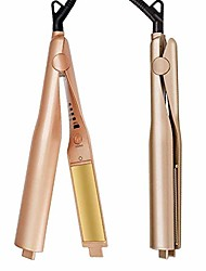 cheap -2 in 1 twist straightening curling iron professional hair straightener and curler in one dual voltage flat irons for all hair types hair styling tools with 3d concave and convex titanium-plated golden