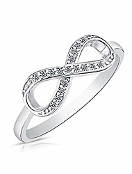 cheap -925 sterling silver forever infinity ring with cz ( US ring size )