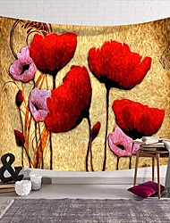 cheap -Wall Tapestry Art Deco Blanket Curtain Picnic Table Cloth Hanging Home Bedroom Living Room Dormitory Decoration Polyester Fiber Abstract Modern Oil Painting Red Flowers