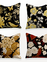 cheap -Cushion Cover 4PCS Linen Soft Decorative Square Throw Pillow Cover Cushion Case Pillowcase for Sofa Bedroom 45 x 45 cm (18 x 18 Inch) Superior Quality Mashine Washable Chinese Style Beauty Flowers
