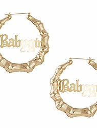 cheap -old english font babygirl word 9cm elegant large bamboo earrings hip-pop style fashion party accessory (gold)