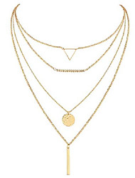 cheap -4pcs 18k gold plated layered choker necklaces for women dainty triangle long bar disc necklace adjustable layering y pendant chain necklaces gold plated