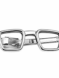 cheap -2 inch tie bar clip for men interesting silver funny tie clips eyeglasses for skinny tie daily life with gift box