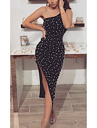 cheap -Mermaid / Trumpet Sexy bodycon Party Wear Cocktail Party Dress One Shoulder Sleeveless Tea Length Spandex with Beading Split 2021