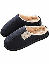 cheap -mens womens slippers with fleece lining, warm winter cotton house shoes antislip indoor couples slippers (dark blue, large)