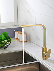 cheap -Kitchen faucet - Single Handle One Hole Golden Nickel Brushed 360° Rotateable Tall Contemporary Kitchen Taps