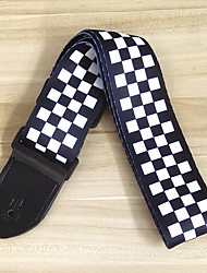 cheap -NAOMI 1PC Black Nylon White Checked Grid Adjustable Guitar Strap PU Leather End for Acoustic Guitar Bass