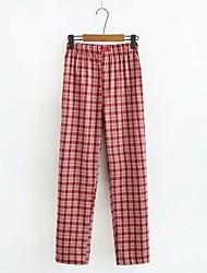 cheap -Women's Chino Daily Casual Pants Chinos Pants Plaid Grid / Plaid Full Length Print Blue Red Green