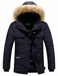 cheap -men's faux fur removable hooded cotton-padded coat winter warm long down water resistant parka jacket navy