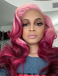 cheap -Wigs Ladies Pink Gradient Dyeing Medium-Length Curly Hair Big Wave High Temperature Silk Chemical Fiber Wig Headgear Party Wig Cosplay Wig