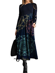 cheap -Women's Swing Dress Maxi long Dress - Long Sleeve Print Patchwork Button Print Spring Fall Elegant Casual Slim 2020 Black Dusty Blue S M L XL XXL 3XL