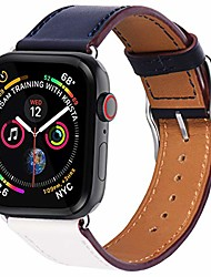 cheap -compatible with apple watch band 38mm 40mm, genuine leather watch strap stainless steel square buckle compatible for apple watch series 4 series 5 40mm,indigo white orange band+silver buckle