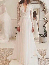 cheap -A-Line Wedding Dresses V Neck Sweep / Brush Train Lace Long Sleeve Backless Illusion Sleeve with Lace Insert 2021