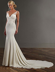 cheap -Mermaid / Trumpet Wedding Dresses V Neck Chapel Train Lace Stretch Satin Spaghetti Strap See-Through Beautiful Back with Appliques 2021