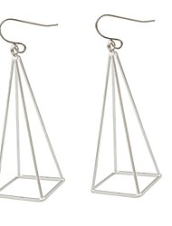 cheap -silver blogger aztec cut out 3d triangle pyramid steampunk diva gypsy earrings with gift box